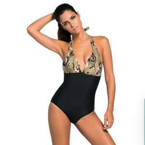 Other - Camouflage black body one piece swimsuit
